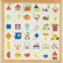 Geometric shape pattern matching classification wooden puzzle